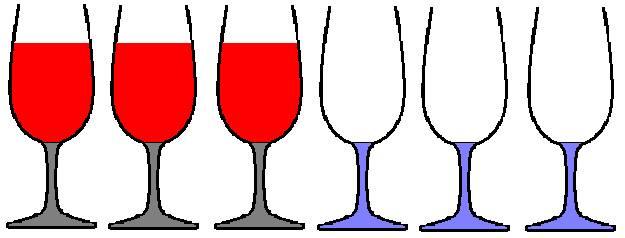 2 3 verres pleins et 3 verres vides sont align s p1p2p3 v1v2v2. Black Bedroom Furniture Sets. Home Design Ideas